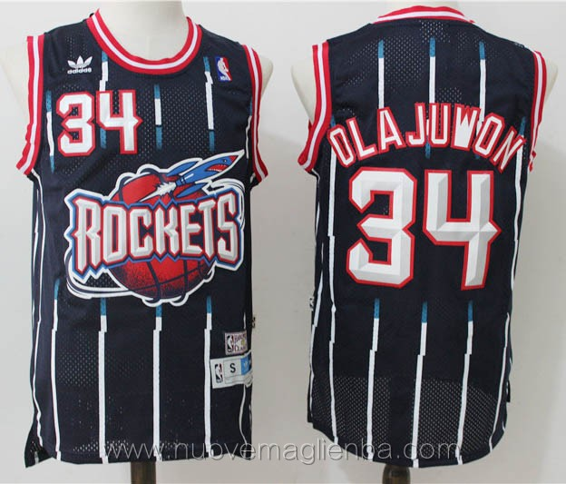 maglie basket nba retro blu scuro Hakeem Olajuwon Houston Rockets