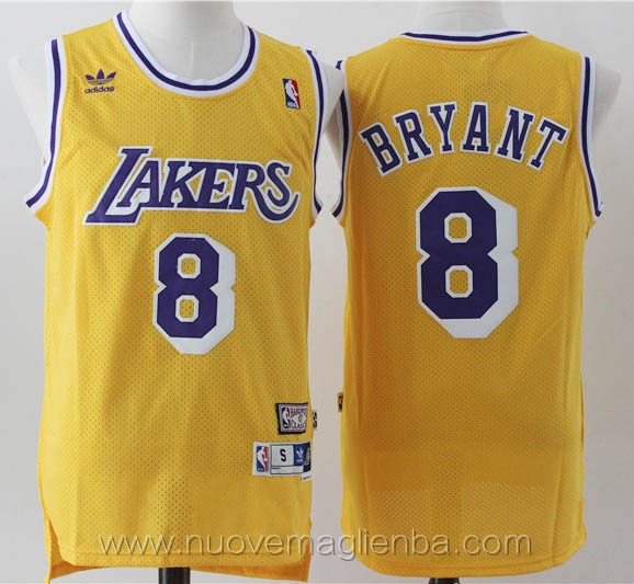 maglie basket nba retro giallo Kobe Bryant Los Angeles Lakers