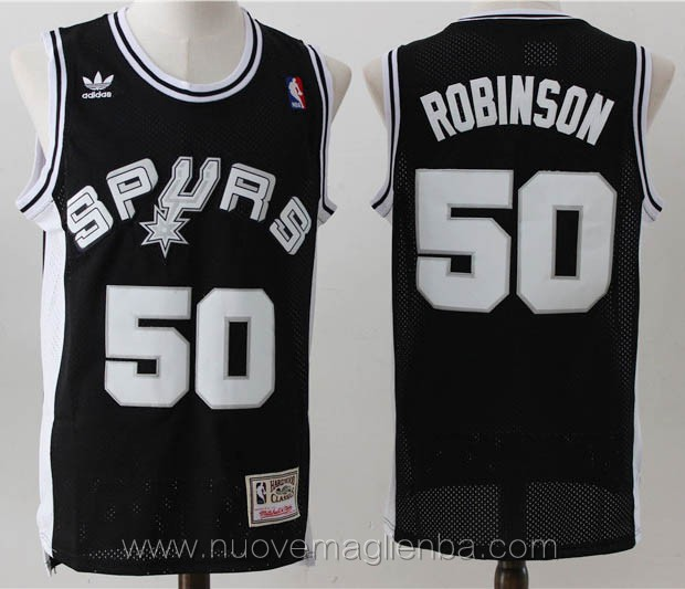 maglie basket nba retro nero David Robinson San Antonio Spurs admiral edition