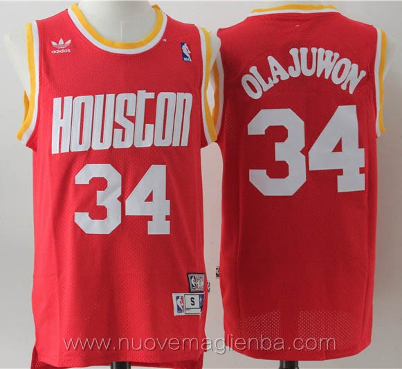 maglie basket nba retro rosso Hakeem Olajuwon Houston Rockets
