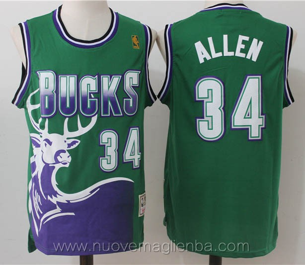 maglie basket nba retro verde Ray Allen Milwaukee Bucks