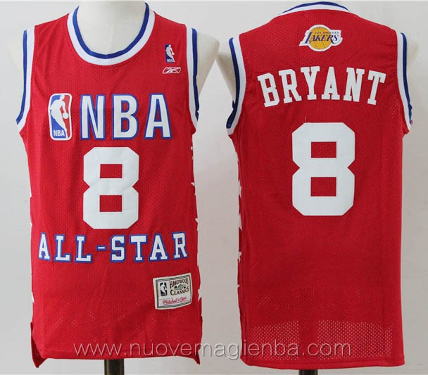 maglie basket nba rosso Kobe Bryant Los Angeles Lakers all-star
