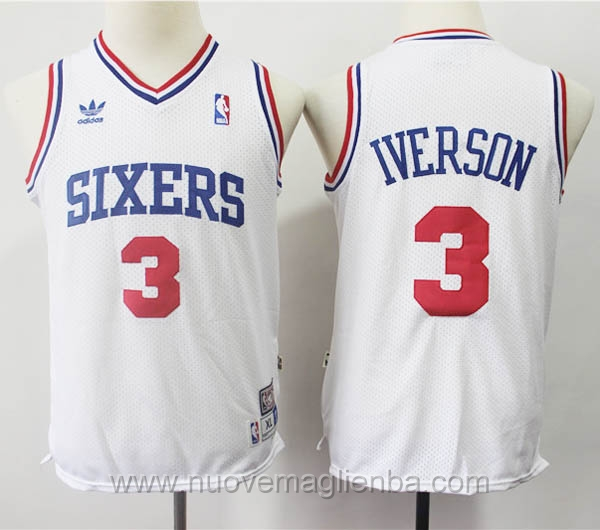 nuove canotte basket bambini bianco Allen Iverson Philadelphia 76ers
