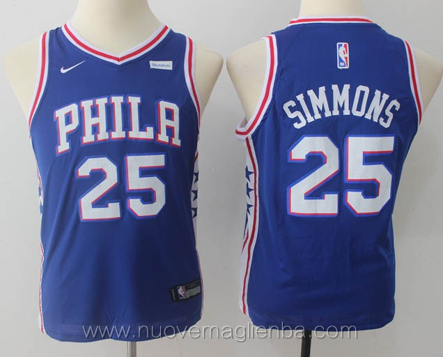 nuove canotte basket bambini bianco Ben Simmons Philadelphia 76ers versione fan