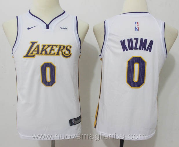 nuove canotte basket bambini bianco Kyle Kuzma Los Angeles Lakers versione fan