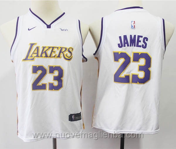 nuove canotte basket bambini bianco LeBron James Los Angeles Lakers