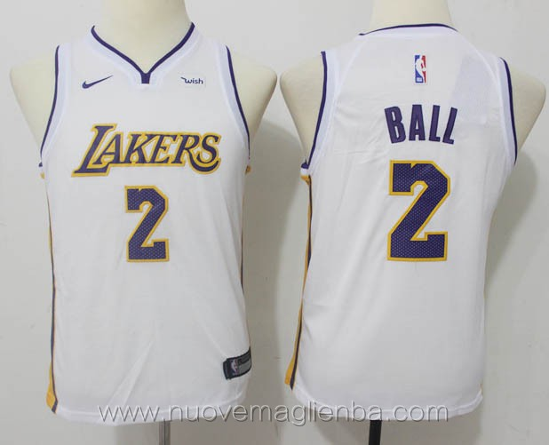 nuove canotte basket bambini bianco Lonzo Ball Los Angeles Lakers versione fan