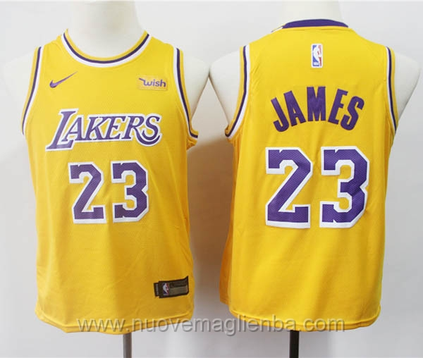 nuove canotte basket bambini giallo LeBron James Los Angeles Lakers