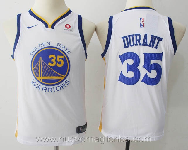 nuove canotte basket bambini nba per nike bianco Kevin Durant Golden State Warriors
