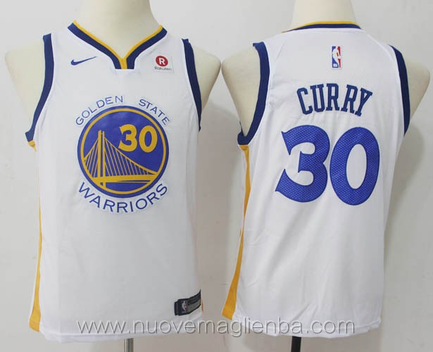 nuove canotte basket bambini nba per nike bianco Stephen Curry Golden State Warriors versione fan