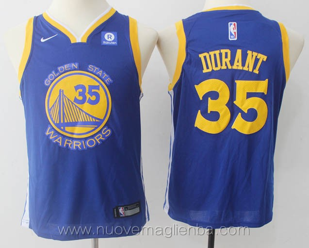 nuove canotte basket bambini nba per nike blu Kevin Durant Golden State Warriors versione fan