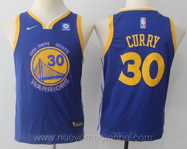 nuove canotte basket bambini nba per nike blu Stephen Curry Golden State Warriors versione fan