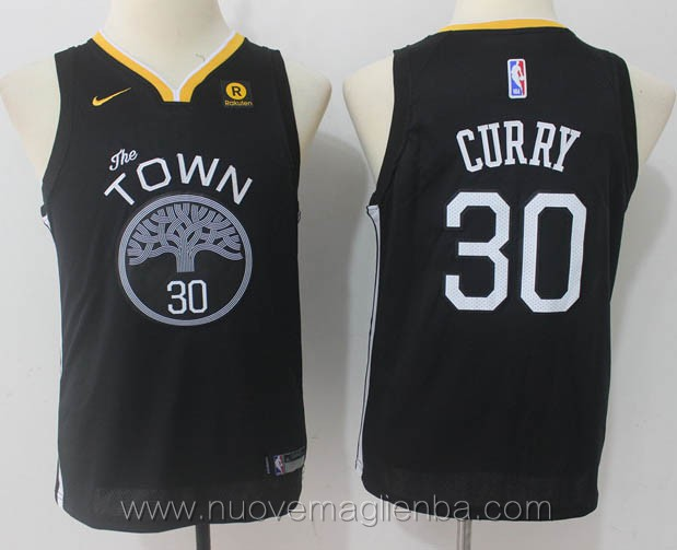 nuove canotte basket bambini nba per nike nero Stephen Curry Golden State Warriors versione fan