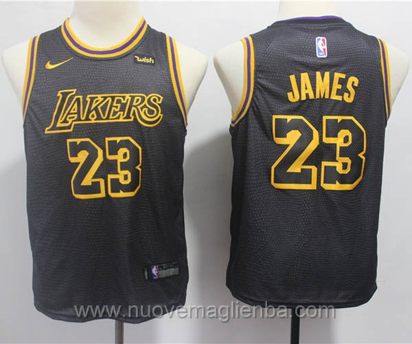 nuove canotte basket bambini nero LeBron James Los Angeles Lakers