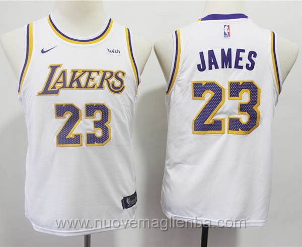nuove canotte basket bambini nike bianco LeBron James Los Angeles Lakers