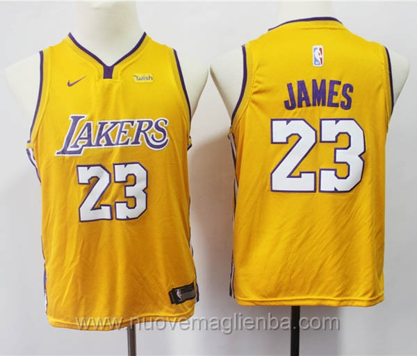 nuove canotte basket bambini nike giallo LeBron James Los Angeles Lakers