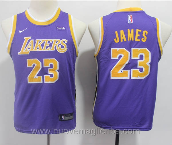 nuove canotte basket bambini nike porpora LeBron James Los Angeles Lakers