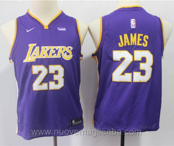 nuove canotte basket bambini porpora LeBron James Los Angeles Lakers