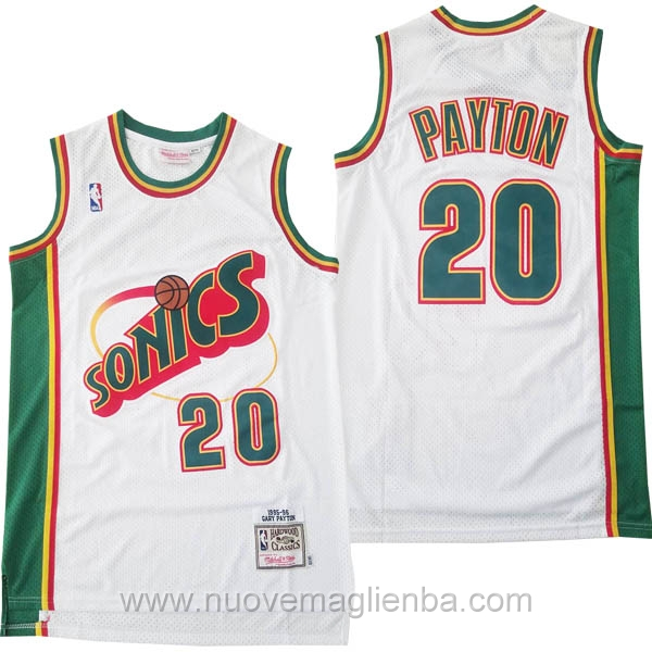 nuove maglie NBA per bianco Seattle SuperSonics Gary Payton