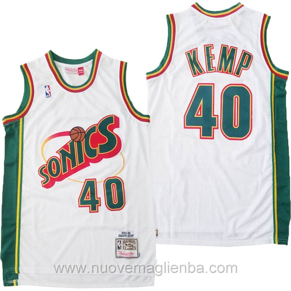 nuove maglie NBA per bianco Seattle SuperSonics Shawn Kemp