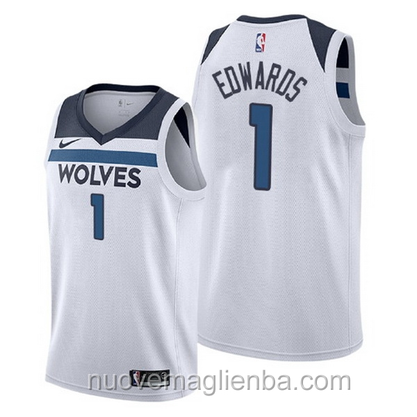 nuove maglie NBA per nike bianca Minnesota Timberwolves Anthony Edwards Association