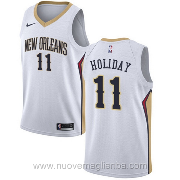 nuove maglie NBA per nike bianco New Orleans Pelicans Jrue Holiday