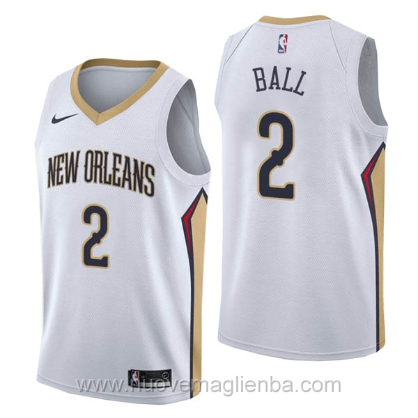 nuove maglie NBA per nike bianco New Orleans Pelicans Lonzo Ball