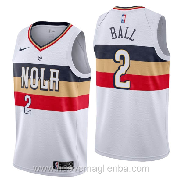 nuove maglie NBA per nike bianco New Orleans Pelicans Lonzo Ball Earned