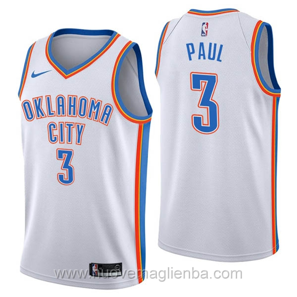 nuove maglie NBA per nike bianco Oklahoma City Thunder Chris Paul