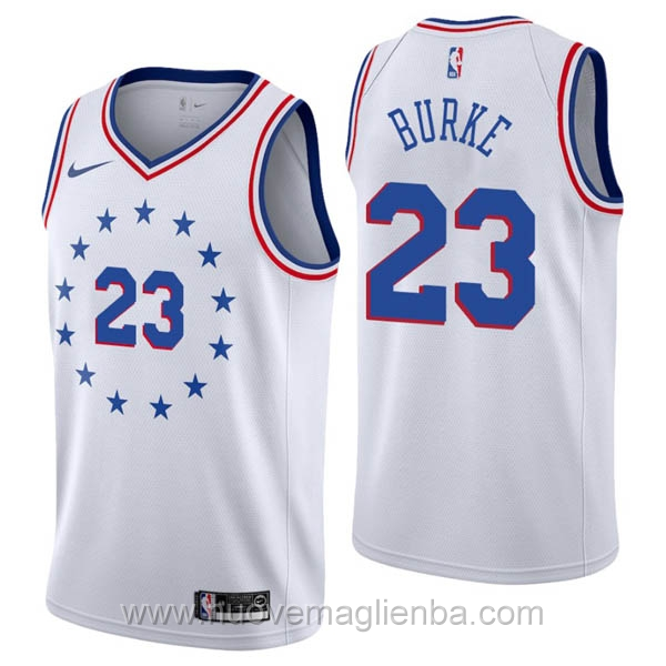 nuove maglie NBA per nike bianco Philadelphia 76ers Earned Edition-Trey Burke