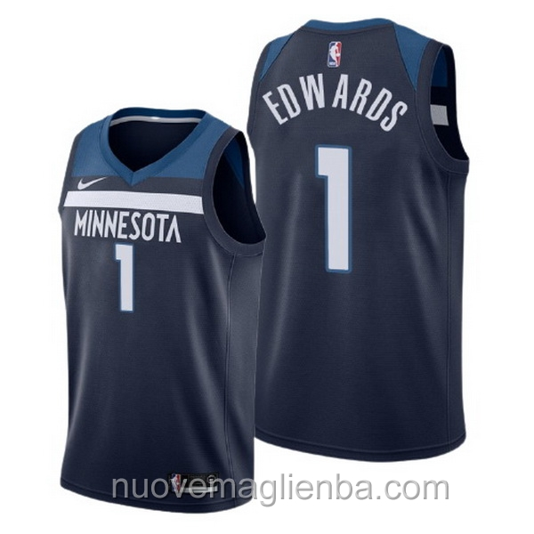 nuove maglie NBA per nike blu Minnesota Timberwolves Anthony Edwards Icon