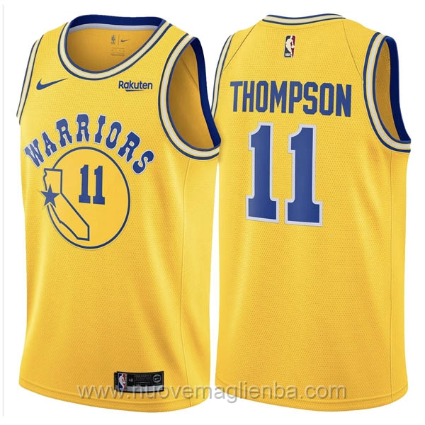 nuove maglie NBA per nike giallo #11 Golden State Warriors Thompson 2019 Hardwood Classics