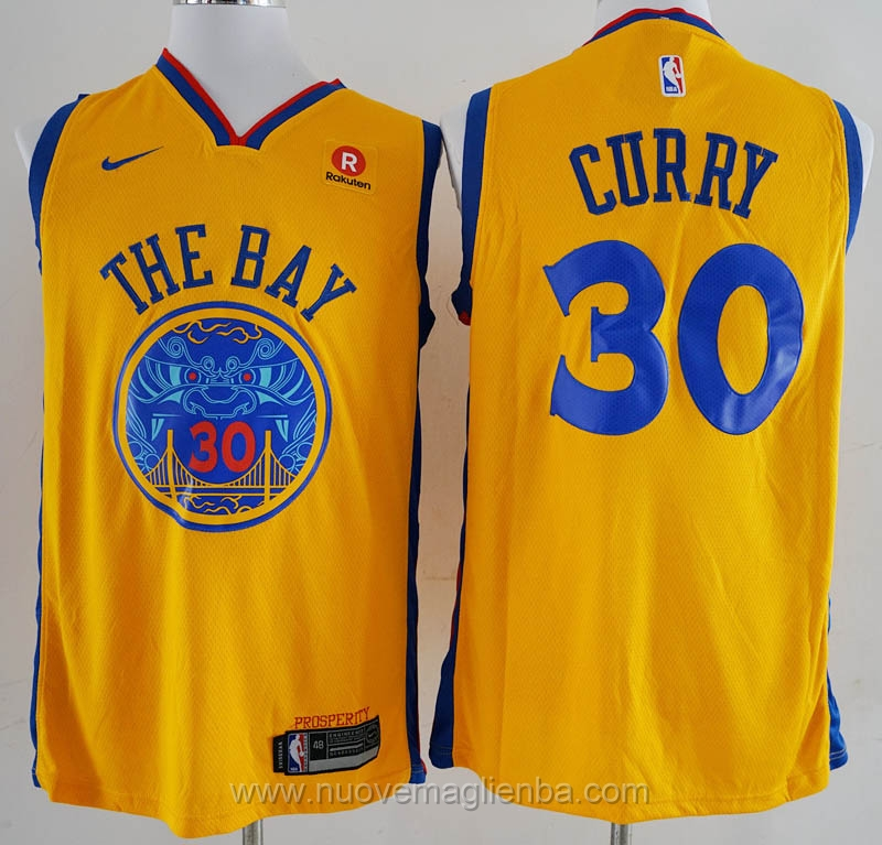 nuove maglie NBA per nike giallo Golden State Warriors City Edition Stephen Curry