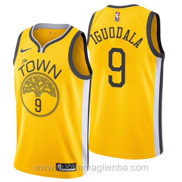 nuove maglie NBA per nike giallo Golden State Warriors Earned Edition-Andre Iguodala