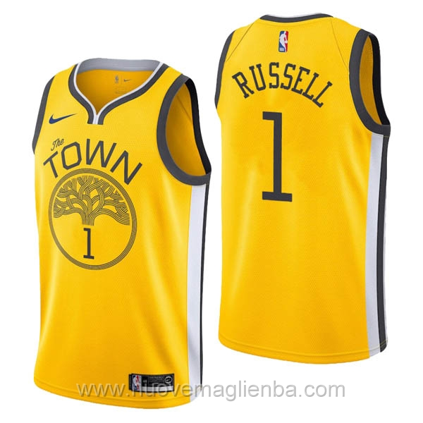 nuove maglie NBA per nike giallo Golden State Warriors Earned Edition-D'Angelo Russell