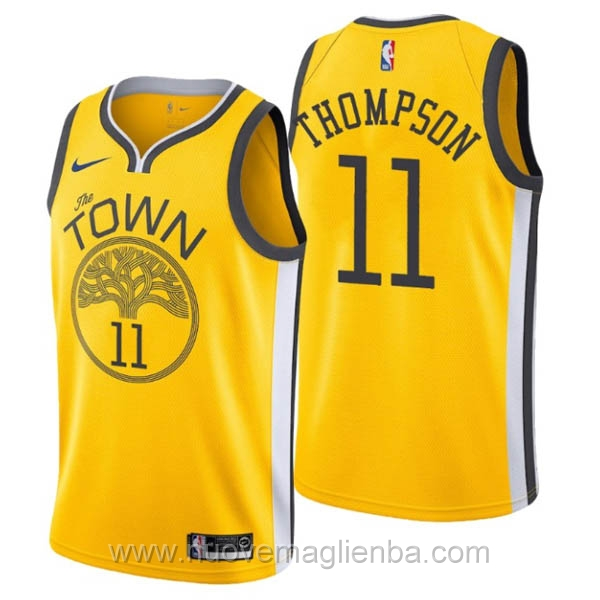 nuove maglie NBA per nike giallo Golden State Warriors Earned Edition-Klay Thompson