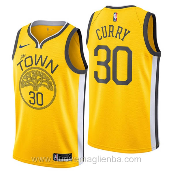 nuove maglie NBA per nike giallo Golden State Warriors Earned Edition-Stephen Curry