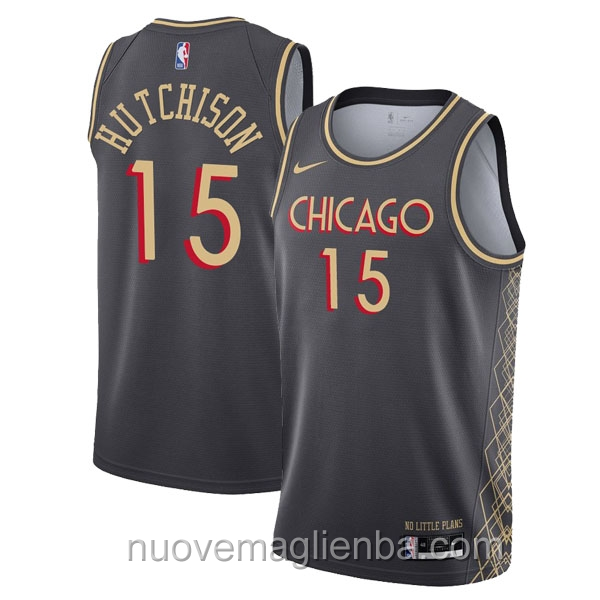 nuove maglie NBA per nike nero Chicago Bulls Chandler Hutchison