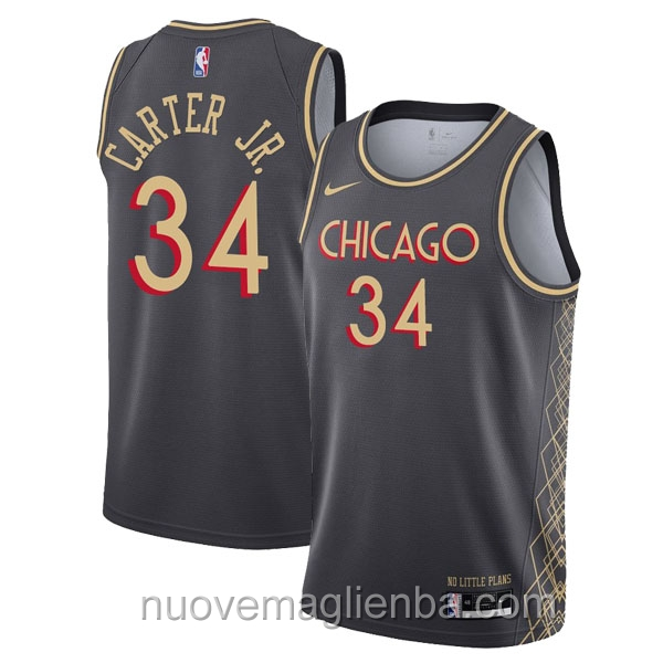 nuove maglie NBA per nike nero Chicago Bulls Wendell Carter Jr