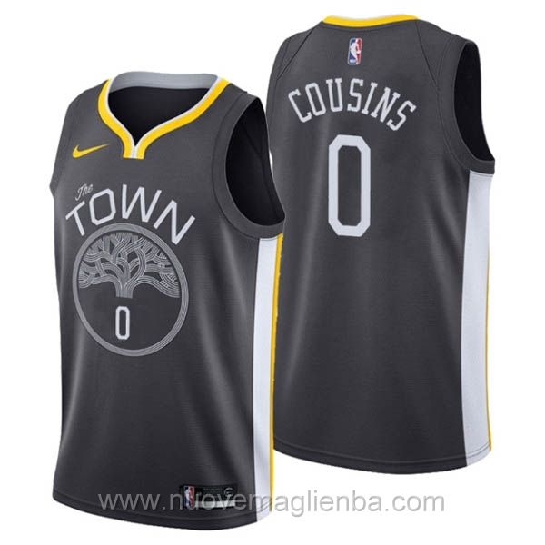 nuove maglie NBA per nike nero Golden State Warriors DeMarcus Cousins
