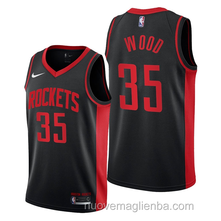 nuove maglie NBA per nike nero Houston Rockets Christian Wood Earned 2021