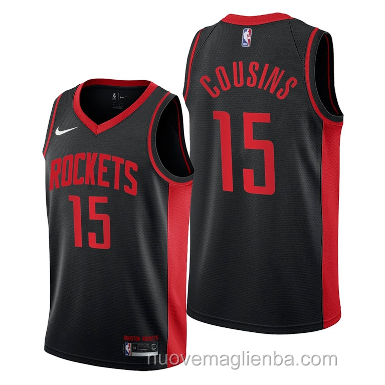 nuove maglie NBA per nike nero Houston Rockets DeMarcus Cousins Earned 2021