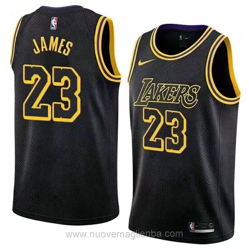 nuove maglie NBA per nike nero Los Angeles Lakers LeBron James