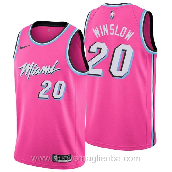 nuove maglie NBA per nike rosa Miami Heat Earned Edition-Justise Winslow 2019