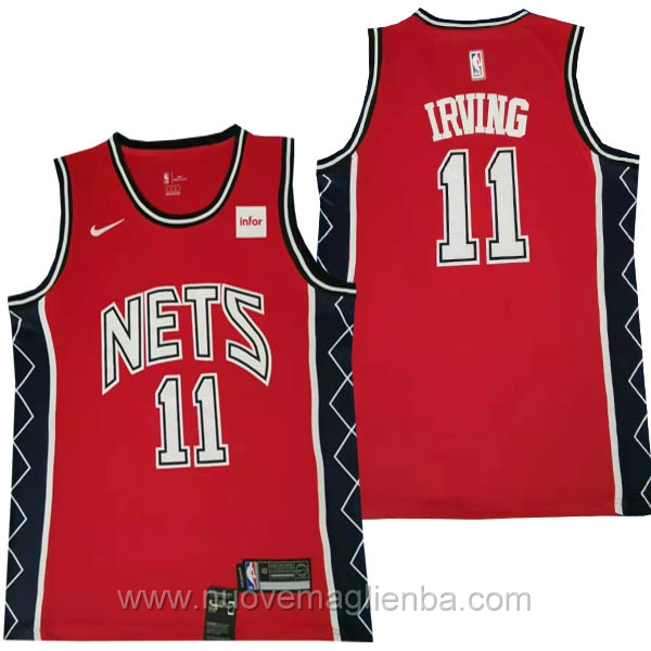nuove maglie NBA per nike rosso Brooklyn Nets Versione retrò kyrie Irving
