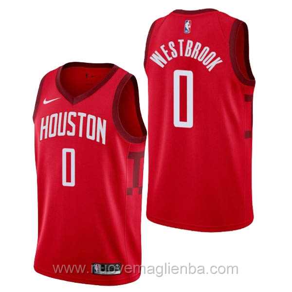 nuove maglie NBA per nike rosso Houston Rockets Earned Edition-Russell Westbrook