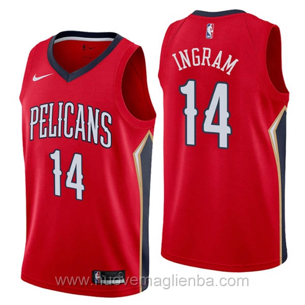 nuove maglie NBA per nike rosso New Orleans Pelicans Brandon Ingram