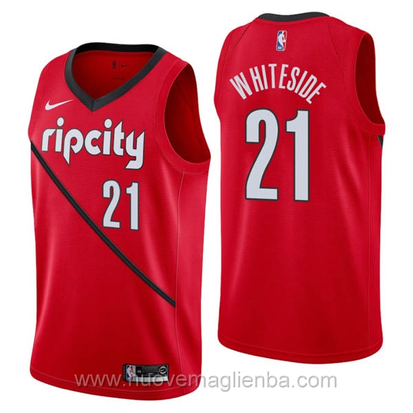 nuove maglie NBA per nike rosso Portland Trail Blazers Earned Edition-Hassan Whiteside