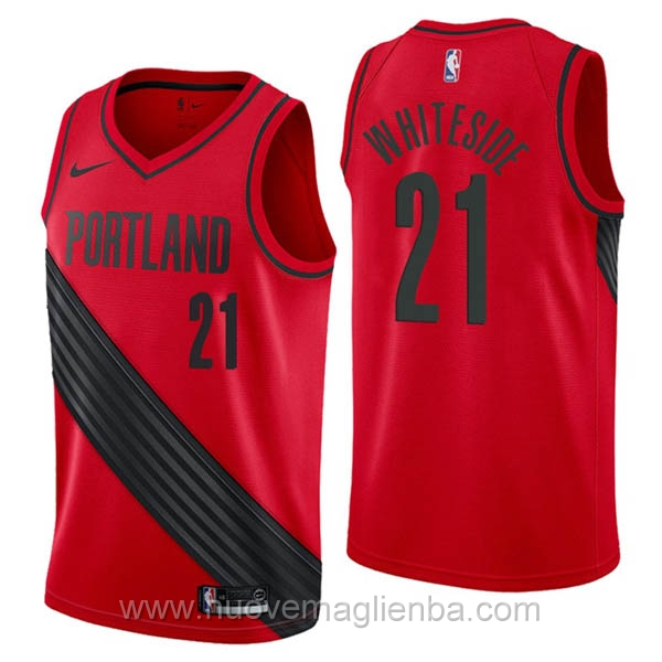 nuove maglie NBA per nike rosso Portland Trail Blazers Hassan Whiteside Statement Edition