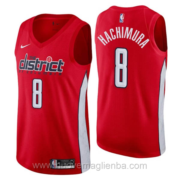 nuove maglie NBA per nike rosso Washington Wizards Earned Edition-Rui Hachimura